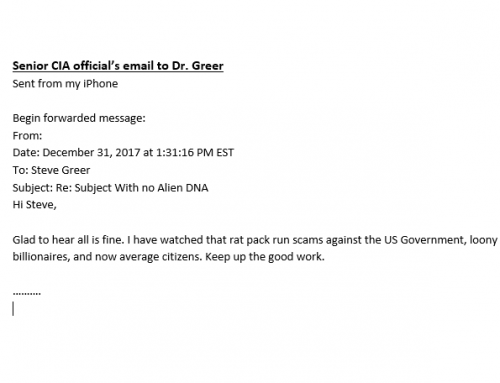 Senior CIA Official's Email to Dr. Greer