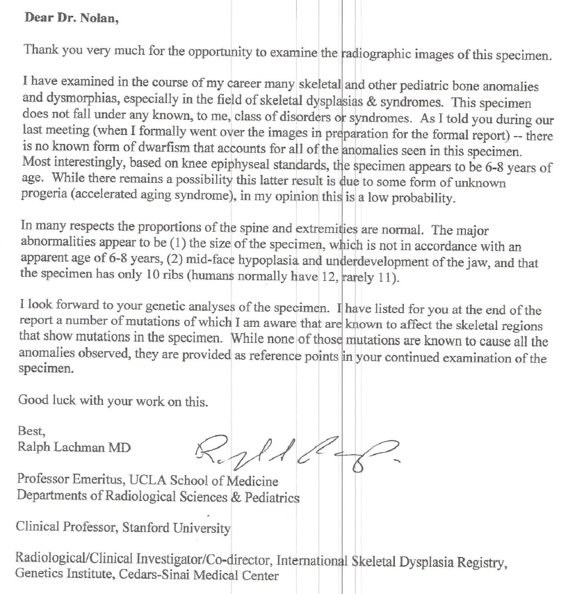 Dr. Lachman's Letter & Full Report