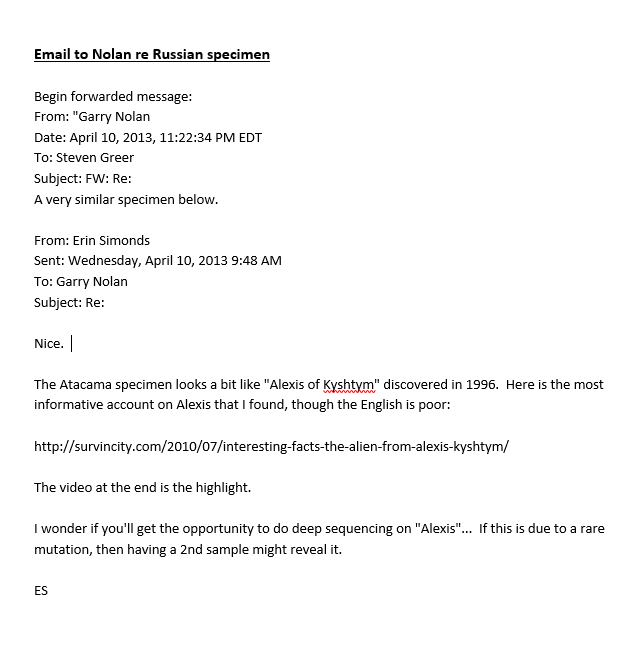 Email to Dr. Nolan Regarding Russian Specimen